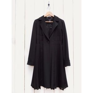 Arden B. Long Black Pleated Jacket Coat Medium